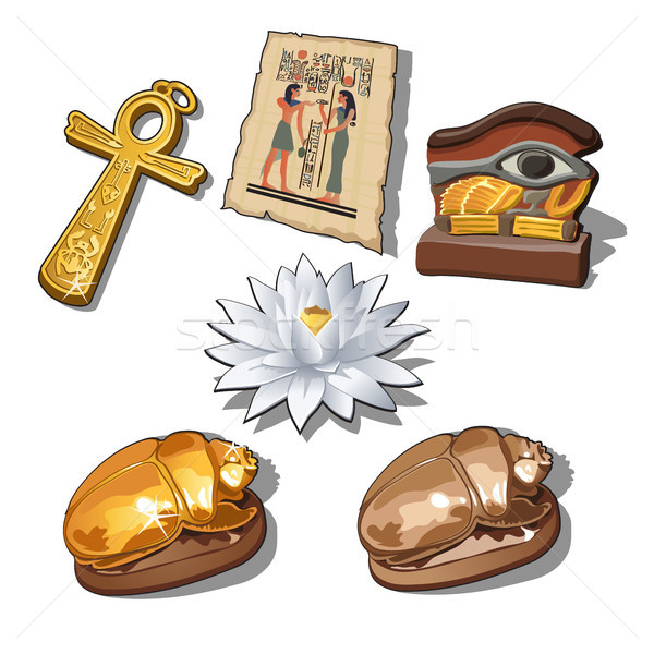 A set of sacred symbols and artifacts of ancient Egypt isolated on a white background. Vector illust Stock photo © Lady-Luck