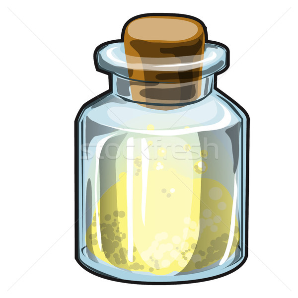 Transparent glass jar with cork with yellow crystalline substance isolated on white background. Vect Stock photo © Lady-Luck