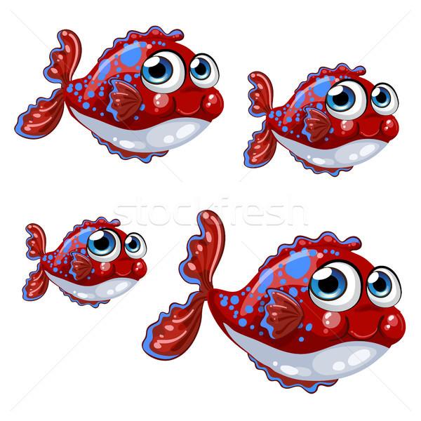 набор Cartoon красный рыбы синий Места Сток-фото © Lady-Luck