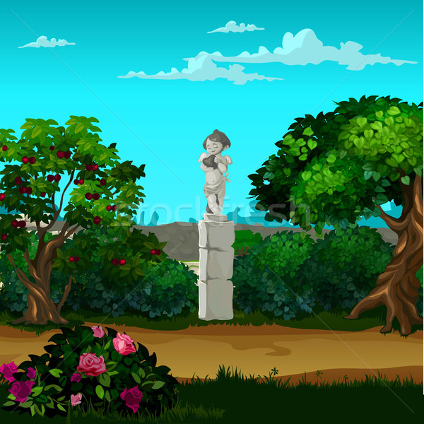 Stone monument in the form of an angel in the garden. Vector cartoon close-up illustration. Stock photo © Lady-Luck