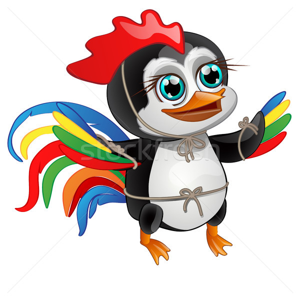 Cute little penguin with bright feathers of a rooster isolated on a white background. Vector illustr Stock photo © Lady-Luck