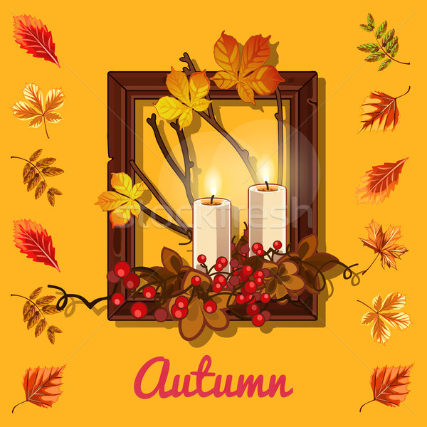 Stylish poster on the theme of golden autumn. Composition of dry twigs and yellowed leaves of the tr Stock photo © Lady-Luck