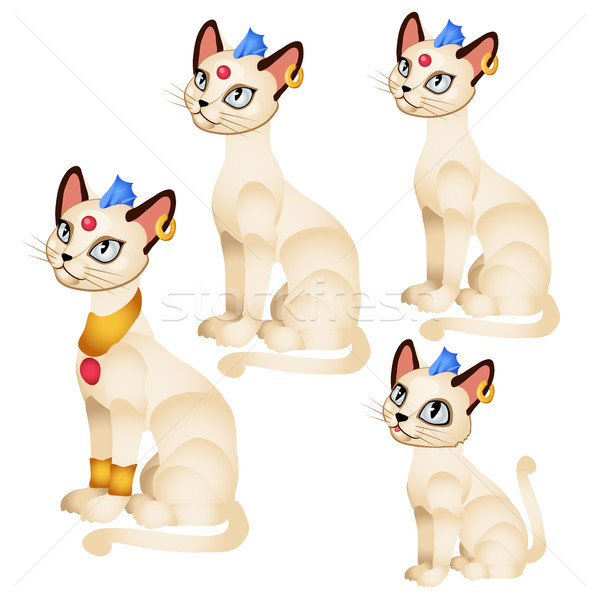 Set fantasy animated cats with Golden ornaments and a blue tuft isolated on white background. Vector Stock photo © Lady-Luck