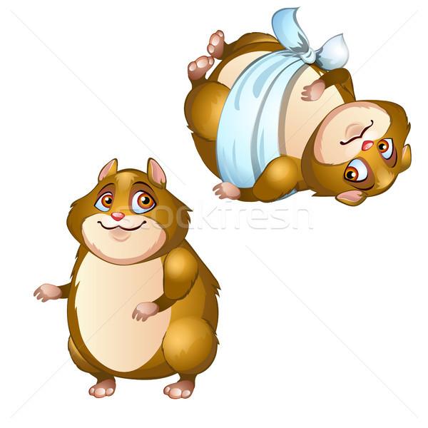 Gezonde hamster geïsoleerd witte vector cartoon Stockfoto © Lady-Luck