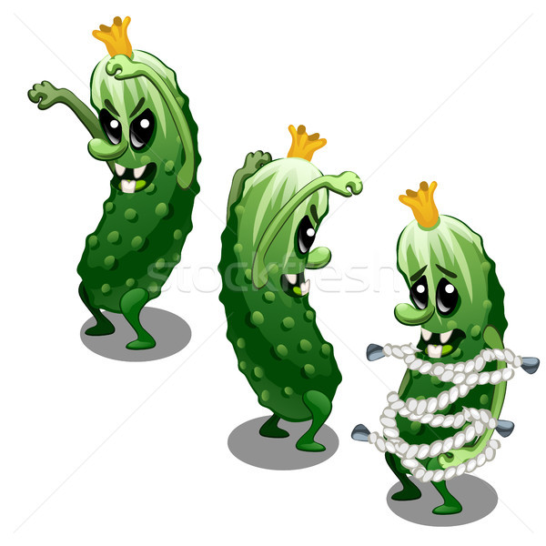 Trapped fancy monster in the form of a scary toothy green cucumber isolated on a white background. V Stock photo © Lady-Luck