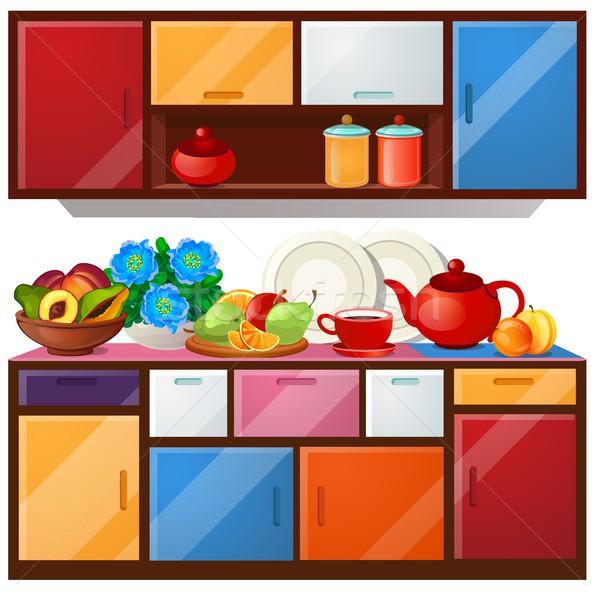 кухне шкаф блюд свежие фрукты изолированный Сток-фото © Lady-Luck