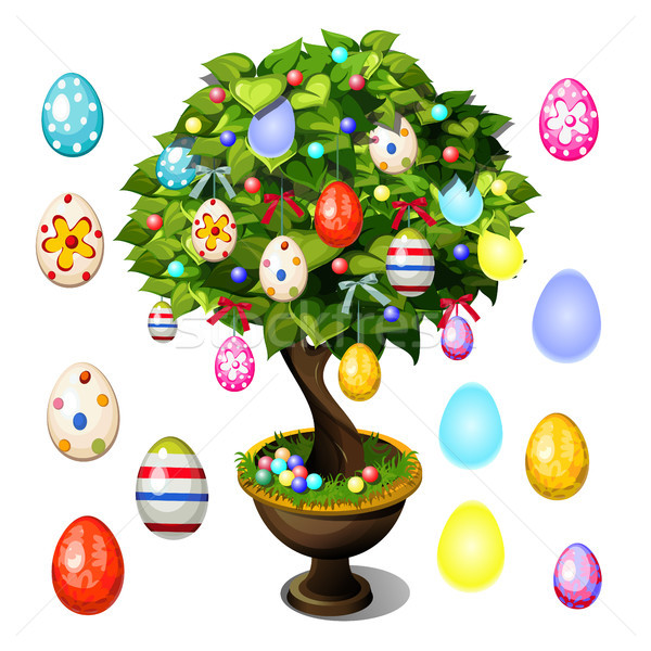 Bonsai tree decorated with Easter eggs for poster, invitation and other cards isolated on white back Stock photo © Lady-Luck