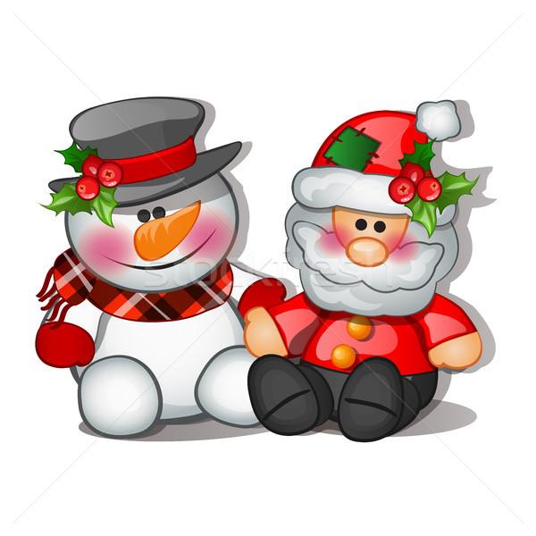 Natal esboço brinquedos forma papai noel boneco de neve Foto stock © Lady-Luck