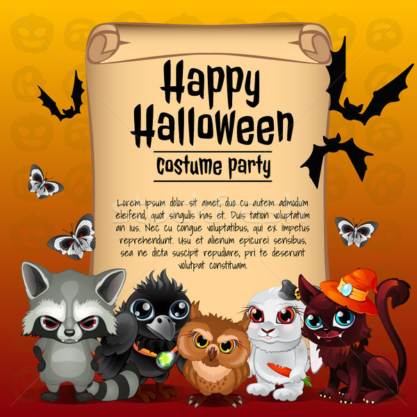 Stock photo: Poster on theme of the Halloween holiday. Sketch with space for text on old paper sheet. Vector illu