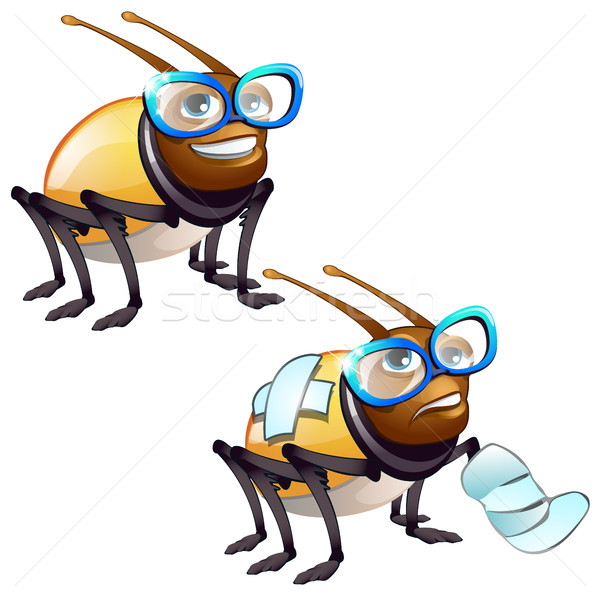 Healthy and diseased beetle isolated on white background. Vector cartoon close-up illustration. Stock photo © Lady-Luck