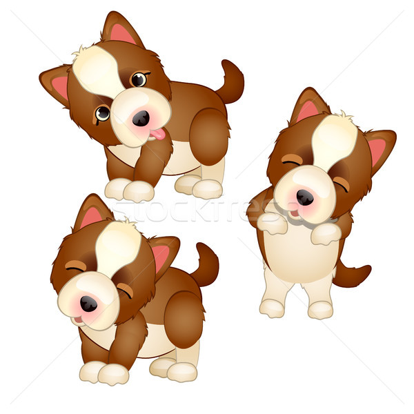 Cute puppy isolated on white background. Pets. Vector cartoon close-up illustration. Stock photo © Lady-Luck