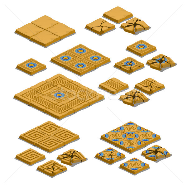 Set of whole and cracked paving tiles isolated on white background. Vector cartoon close-up illustra Stock photo © Lady-Luck