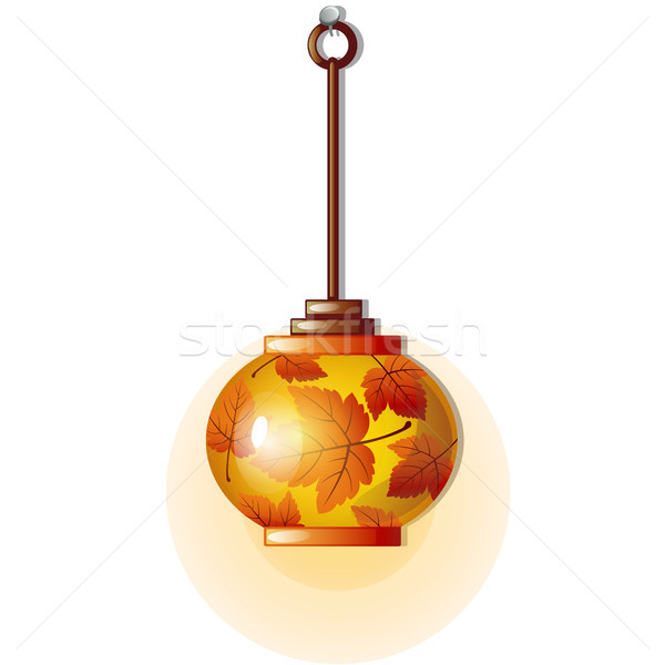 Electric lamp with glass lampshade with ornament in form of autumn leaves. Element of kitchen interi Stock photo © Lady-Luck