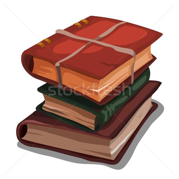 Vintage boeken touw geïsoleerd witte Stockfoto © Lady-Luck