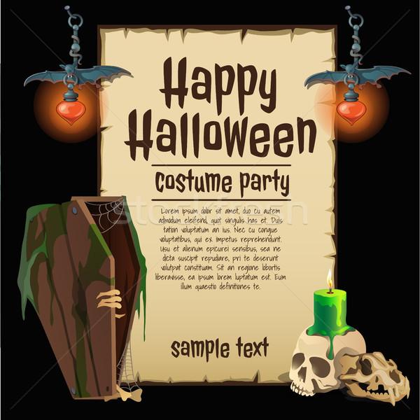 Poster halloween tatil gökyüzü kâğıt dizayn Stok fotoğraf © Lady-Luck