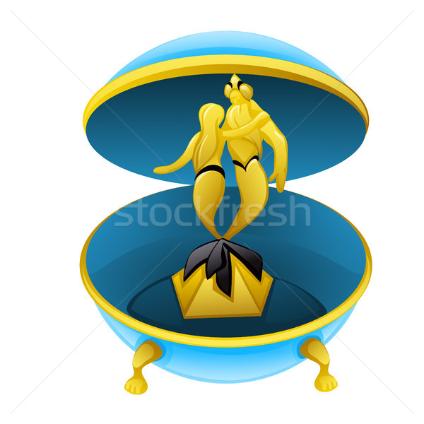 Cartoon musical box with figures of a Triton and mermaid isolated on white background closeup. Vecto Stock photo © Lady-Luck
