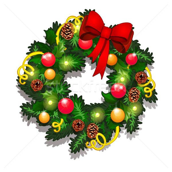 Natal esboço coroa decorado vermelho Foto stock © Lady-Luck