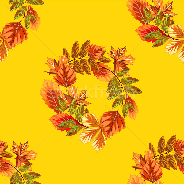 Cute poster or greeting card with modern design on theme of golden autumn. Ornate backdrop of fallen Stock photo © Lady-Luck