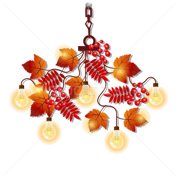 Electric chandelier with ornate frame of tree branches with autumn rowan leaves and berries. Element Stock photo © Lady-Luck