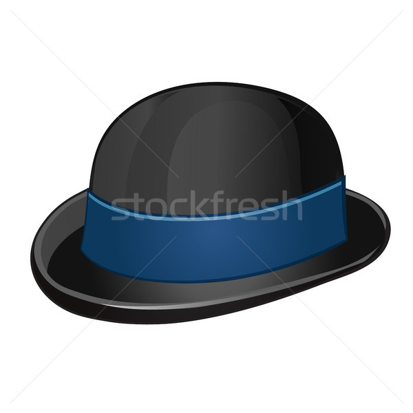 A stylish black bowler hat with blue ribbon isolated on a white background. Vector illustration. Stock photo © Lady-Luck