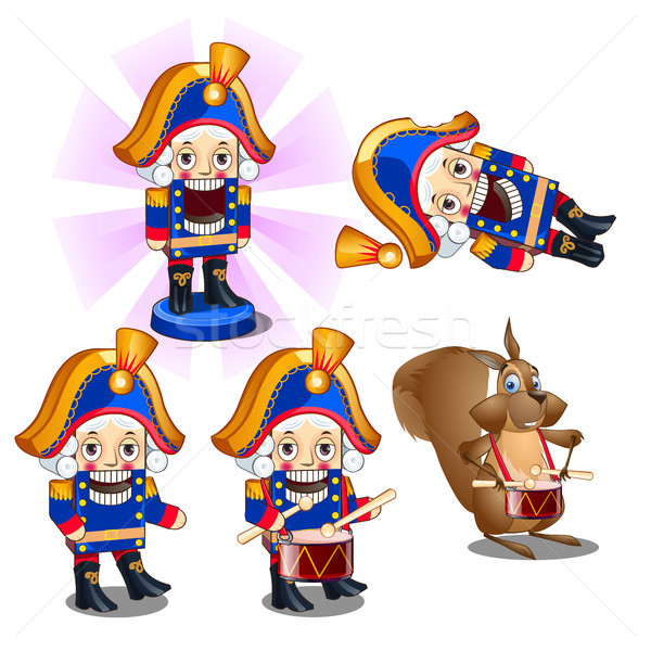 Set of traditional Christmas figurines Nutcracker with a drum and a mouse. Sketch for greeting card, Stock photo © Lady-Luck