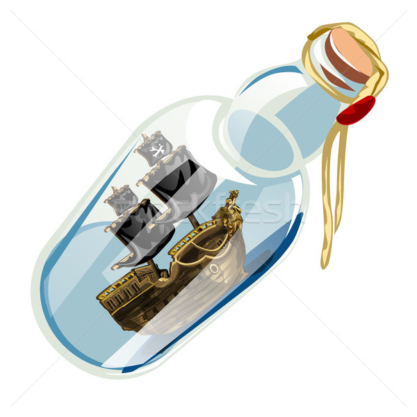 Bottle with pirate ship isolated on a white background. Vector cartoon close-up illustration. Stock photo © Lady-Luck