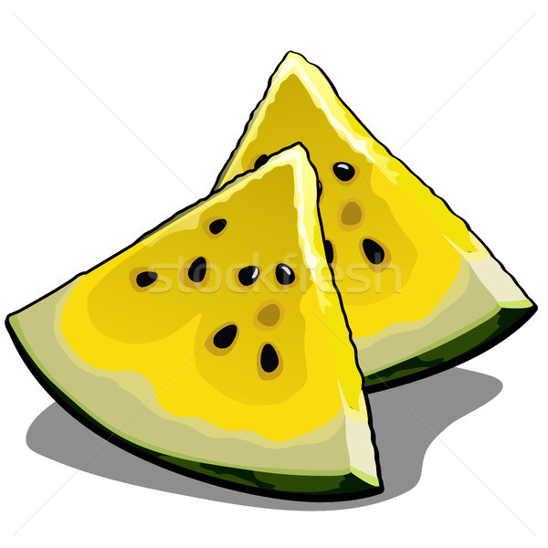 Set of slices of ripe yellow watermelon. Element of a healthy diet. Delicious and healthy tropical f Stock photo © Lady-Luck