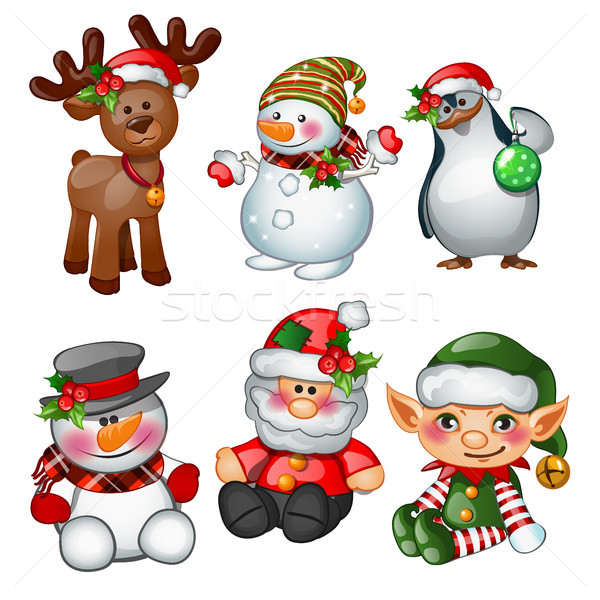 Santa Claus, reindeer, snowman, penguin, Santas helper and apprentice. Sketch for greeting card, fes Stock photo © Lady-Luck