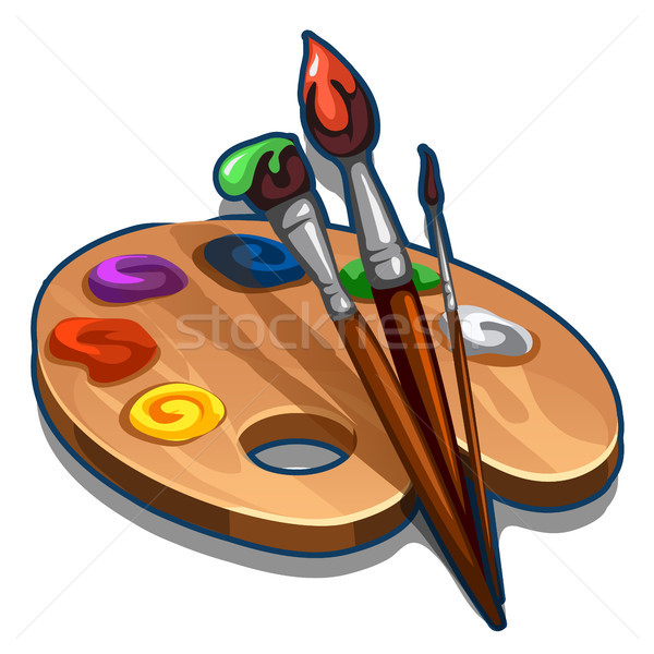 Wooden palette with paint and brushes isolated on white background. Vector cartoon close-up illustra Stock photo © Lady-Luck