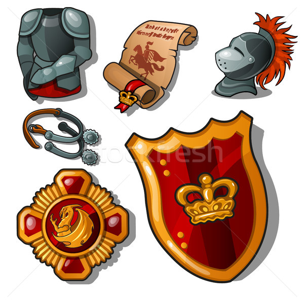 The attributes of a medieval knight isolated on white background. Armor, shield and reward. Vector i Stock photo © Lady-Luck