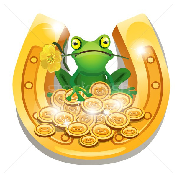 Golden horseshoe, coins and a frog with a flower in his mouth isolated on white background. Vector c Stock photo © Lady-Luck