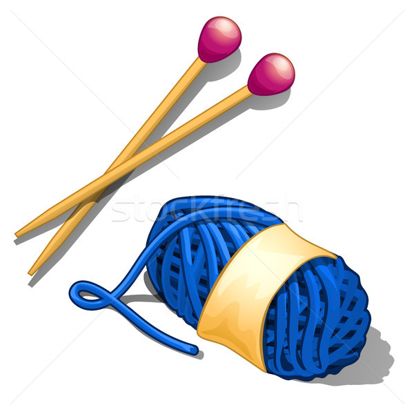 Set of blue tangle of wool yarn and knitting needles isolated on a white background. Tools and mater Stock photo © Lady-Luck