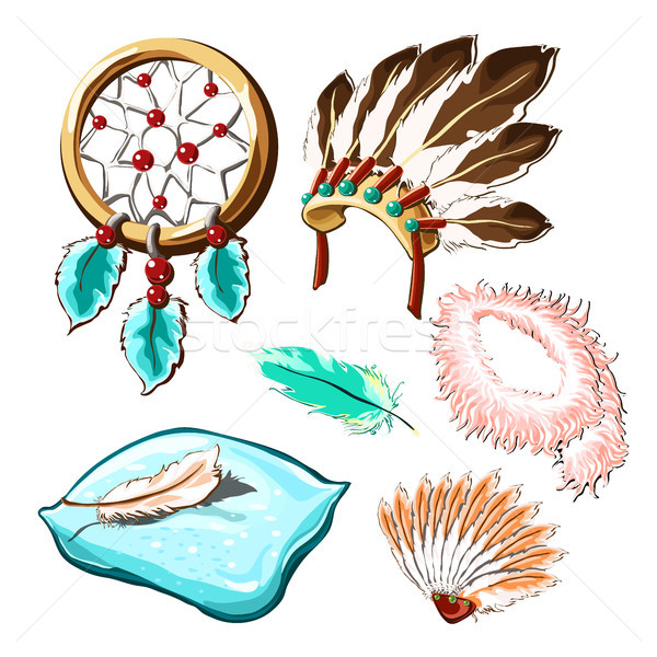 The set of objects of ancient culture and modern life with bird feathers isolated on white backgroun Stock photo © Lady-Luck