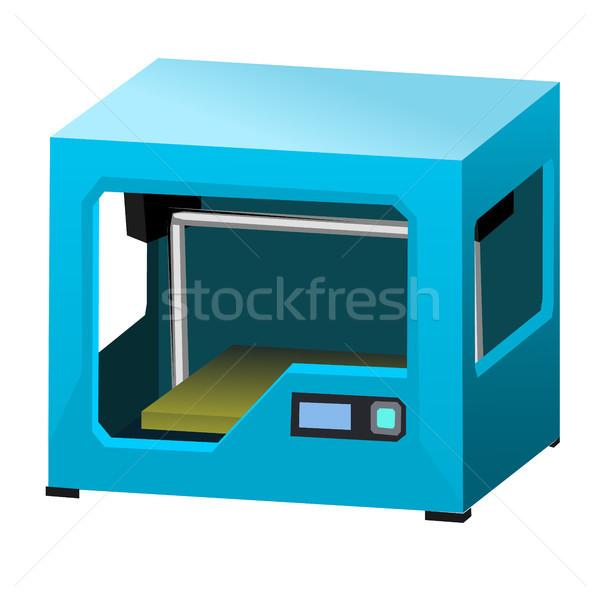 Karikatur 3D Drucker isoliert weiß Stock foto © Lady-Luck