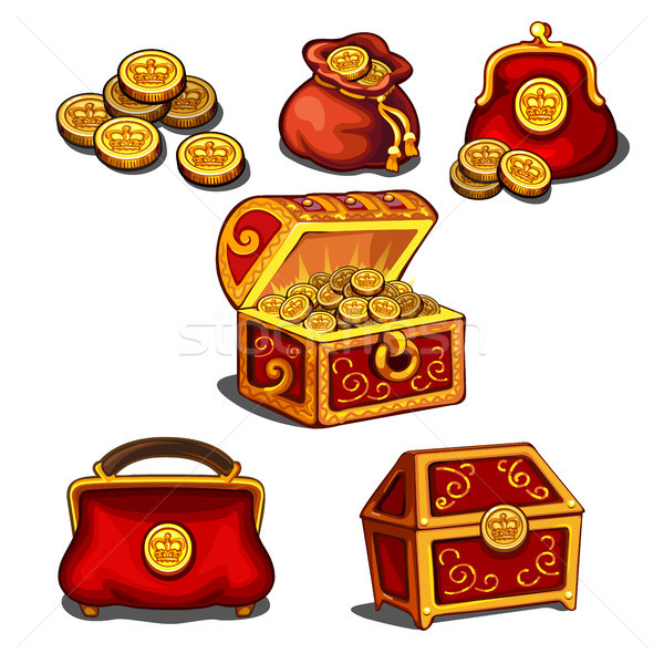 Set of wallets, bags and a chest full of gold coins isolated on white background. Vector cartoon clo Stock photo © Lady-Luck