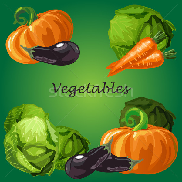 Poster with a picture of ripe and healthy vegetables isolated on green background. Ripe pumpkin, egg Stock photo © Lady-Luck