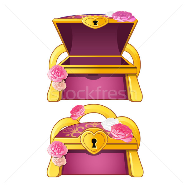 Elegant treasure chest decorated with flower buds. Vector illustration. Stock photo © Lady-Luck