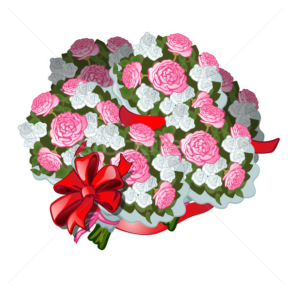 A huge bouquet of flowers tied with red ribbon with bowknot, isolated on white background. Vector il Stock photo © Lady-Luck
