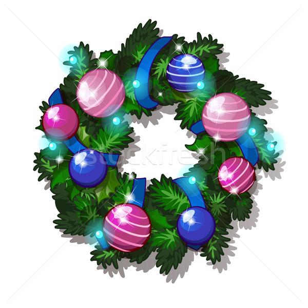 Сток-фото: Рождества · эскиз · венок · ель · украшенный · стекла