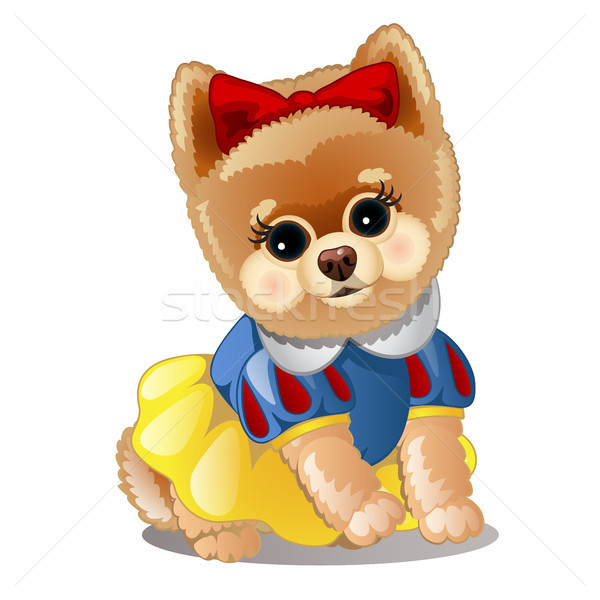 Little fluffy dog in clothes. Vector illustration. Stock photo © Lady-Luck