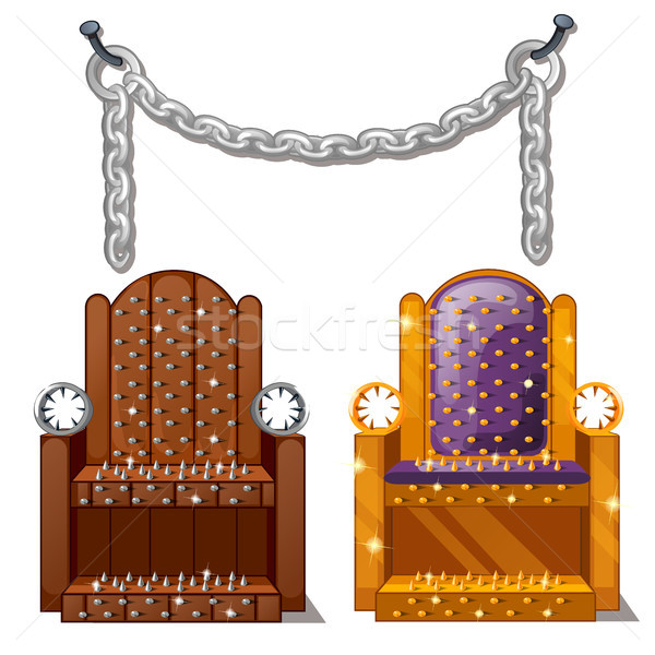 Ancient instruments of torture. Wooden chair with spikes and steel chains isolated on white backgrou Stock photo © Lady-Luck