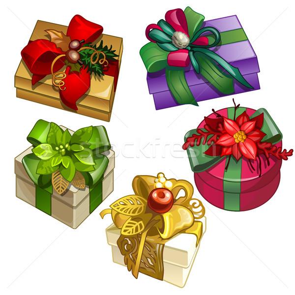 Ayarlamak hediye kutuları tasarımcı süslemeleri yalıtılmış Stok fotoğraf © Lady-Luck