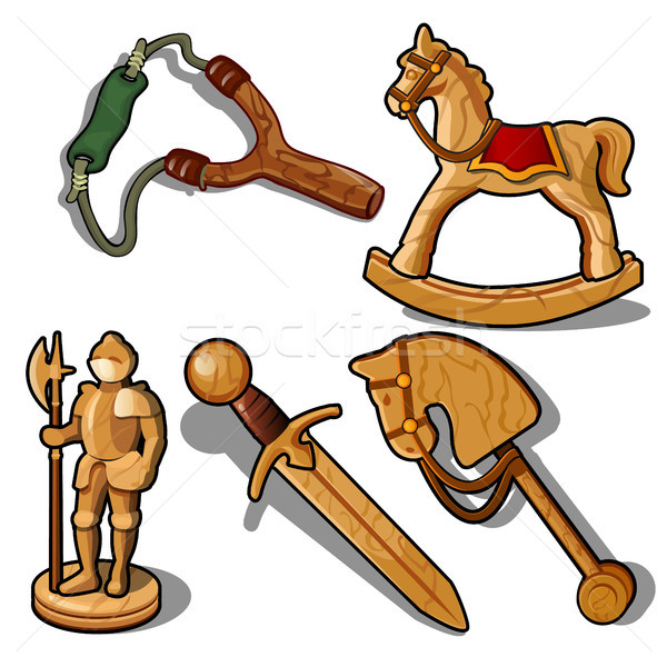 Set of toys made of wood isolated on white background. Vector illustration. Stock photo © Lady-Luck