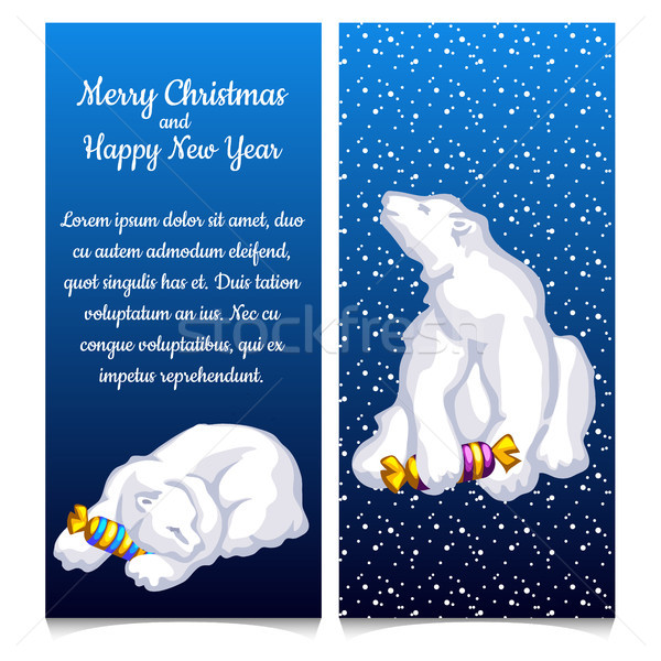 Dual vertical card with snow bear with sweet candy. Sketch for greeting card, festive poster or part Stock photo © Lady-Luck