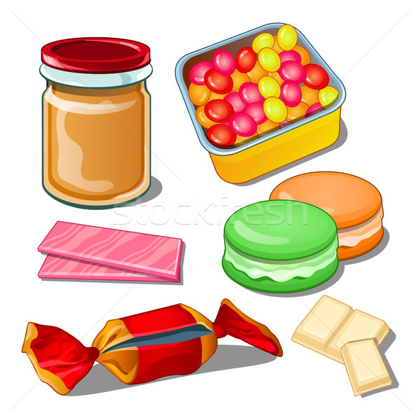 Sweet isolated on a white background. Colorful confections the best gift for the sweet tooth. Vector Stock photo © Lady-Luck