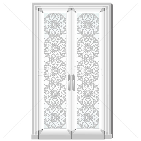 Entrance door with exquisite ornamentation on the glass. Vector illustration. Stock photo © Lady-Luck