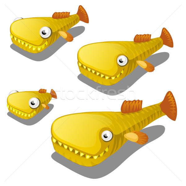 Ingesteld cartoon vis geïsoleerd witte vector Stockfoto © Lady-Luck