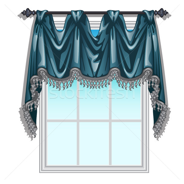 The ornate curtain in the interior. Vector illustration. Stock photo © Lady-Luck