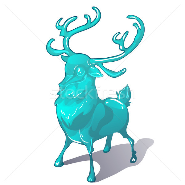 Ice figurine of a deer isolated on a white background. The symbol of new year and Christmas. Vector  Stock photo © Lady-Luck
