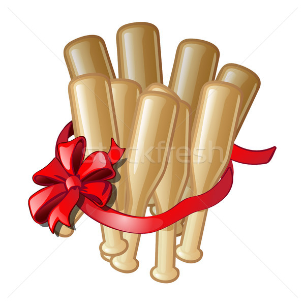 Gift in the form of bundles of baseball bats with the red ribbon with a bow isolated on a white back Stock photo © Lady-Luck